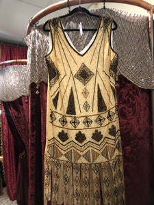 Women's Dresses: Reproduction 1920s Style Butterscotch Yellow Carwash Hem Beaded Flapper Dress