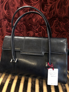 "Vintage Purses: Reproduction Vintage ""Gucci"" Replica Navy Blue Leather Double-Handle Handbag"