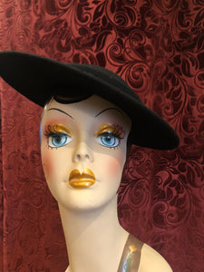 "Women's Hats: 1980s does 1940s ""Sonni San Francisco"" Black Platter Hat with Mod Grosgrain Ribbon Bow Detail"