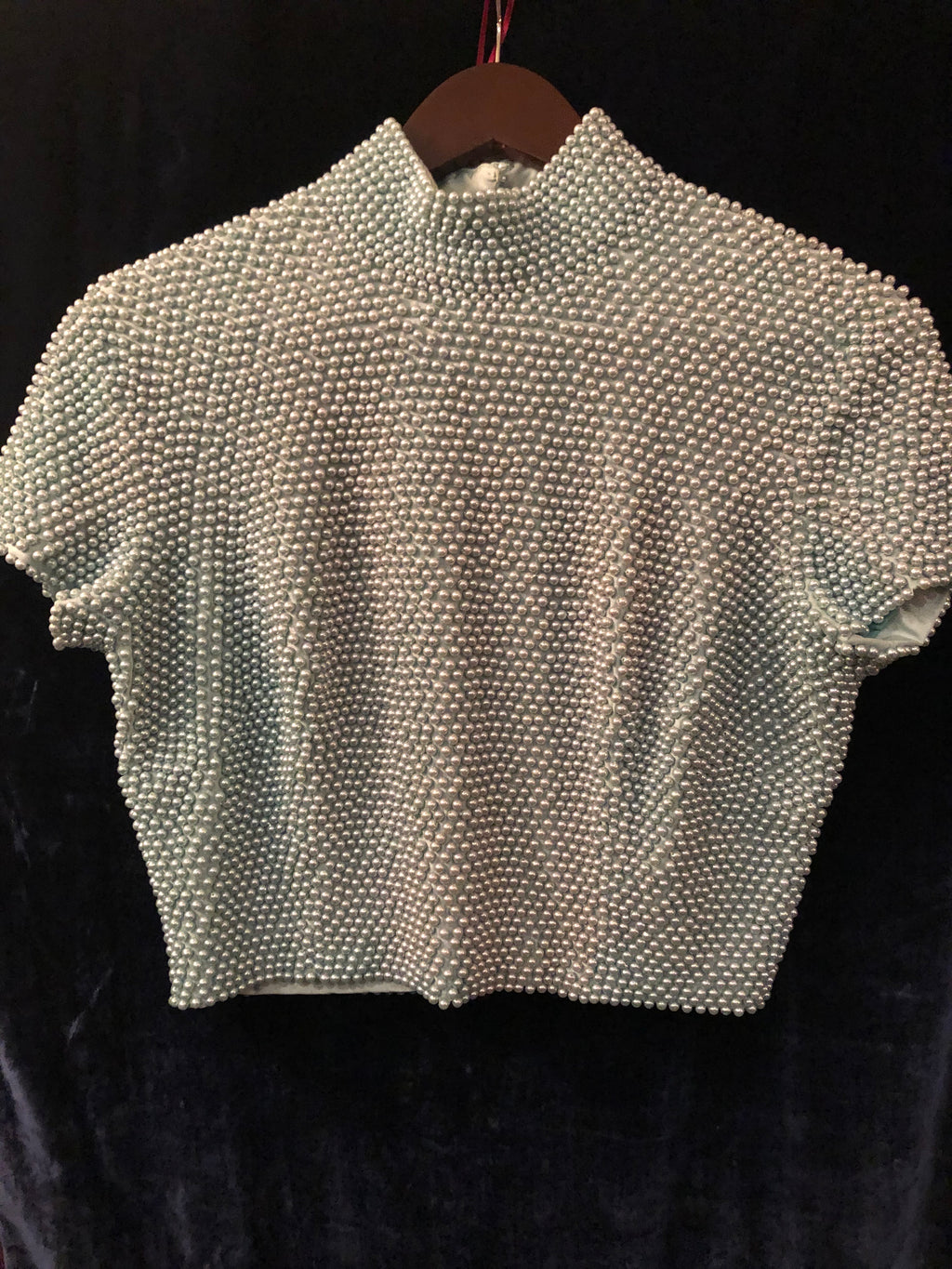 Women's Tops: Vintage 1990s Ice Blue Pearl Beaded Mock Turtleneck Top