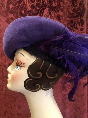 "Women's Hats: 1960s does 1940s ""Styled by Jack McConnell New York"" Grape Purple Asymmetrical Cloche-Style Hat"