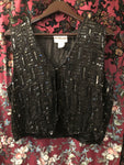 "Women's Tops: Vintage 1980s 1990s Jet Black Sequined Vest Shell by ""Cotton Zone"""