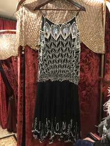 Women's Dresses: Reproduction Vintage 1990s does 1920s Black Silk Drop-Waist Cocktail Dress with White Pearl and Iridescent Silver Peacock Feather Detail