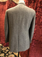 "Men's Blazers & Sportcoats: 1950s ""ZCMI"" Black and Cream Herringbone Tweed Sport Coat with Throat Latch"