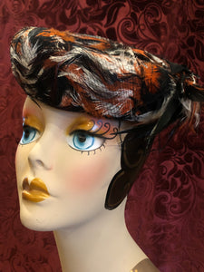 "Women's Hats: Vintage 1960s ""Amy New York"" Black, White, and Rust Orange Puffed Platter Hat with Mesh Overlay"