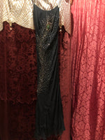 "Women's Dresses: Reproduction 1930s ""Danza"" Black Bias-Cut Evening Dress Gown with Front and Back Peacock Feather Beading"