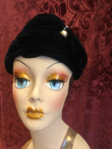 Women's Hats: 1960s does 1930s Black Silk Velvet Turban Bucket Hat with Rhinestone and Pearl Accents