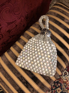 Vintage Purses: Silver and White Iridescent Beaded Crochet Pouch Purse with Gate-Top Closure and Crochet Handle