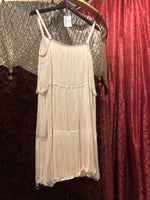 Women's Dresses: Reproduction Vintage 1920s-Style Palest Petal Pink Triple Drape Fringe Sheath Dress