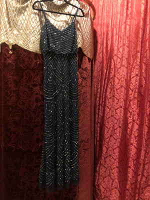 "Women's Dresses: Reproduction 1930s ""Adrianna Pappell"" Midnight Blue Blouson Top Evening Dress Gown with Pewter Art Deco—Style Beading"