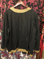 Vintage Women's Furs & Wraps: Vintage 1990s Black Silk Beaded Evening Jacket with Gold Floral Trim