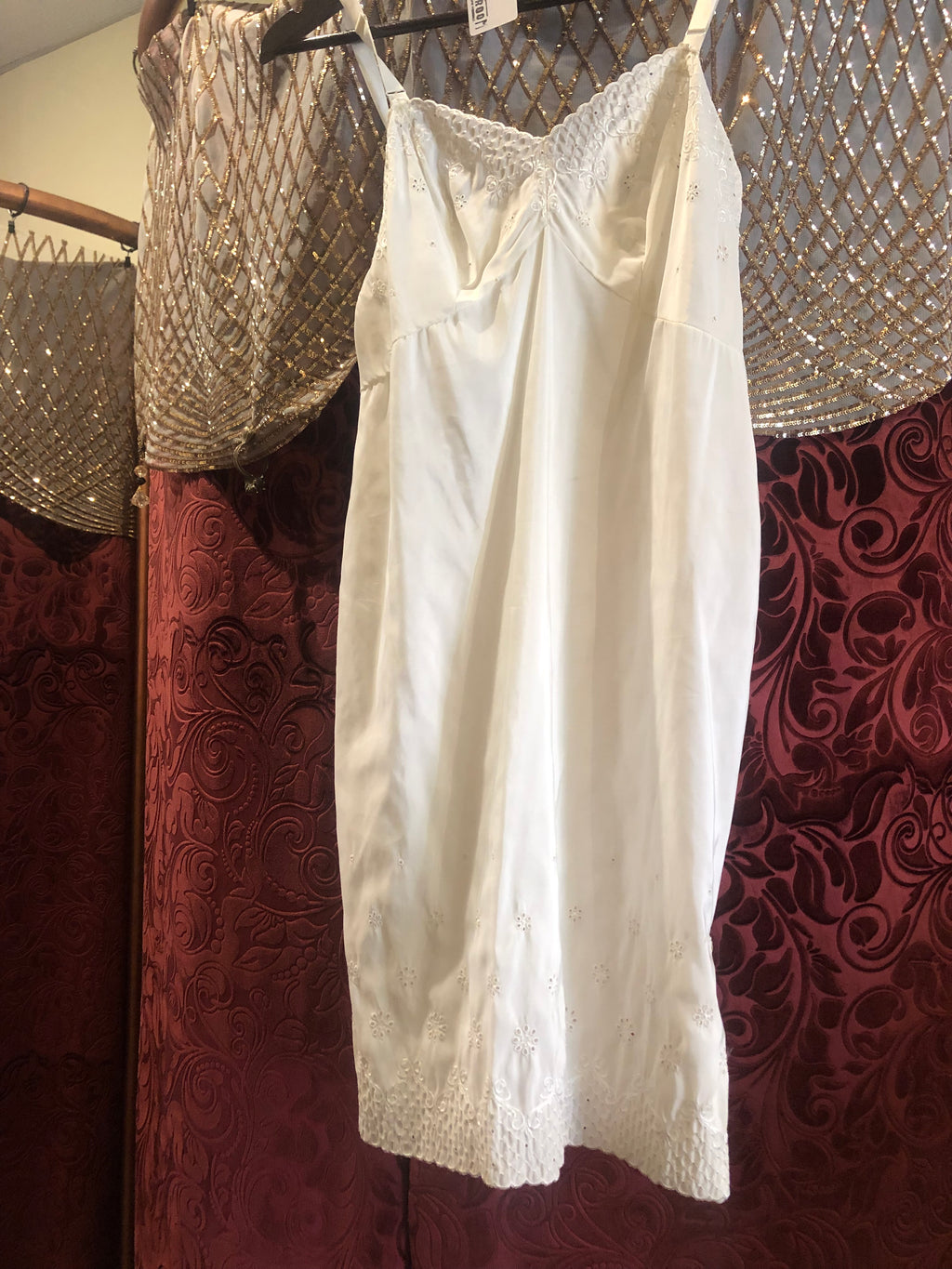 "Women's Lingerie: Vintage 1960s ""Aristocraft"" White Full Slip with Eyelet Embroidery"