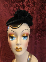 Women's Hats: Vintage 1910s Black Fascinator Cap with Beaded Crown and Silk Rosette Detail