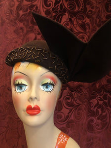 "Women's Hats: Vintage 1950s ""Saks Fifth Avenue Debutante"" Chocolate Brown Wool Felt Capulet Fascinator Hat with Dramatic Double Flame Detail"