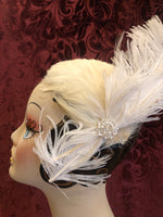 Women's Hats: 1950s 1960s White Feathered Flapper Headband with Oversized White Ostritch Feather accent and rhinestone detail