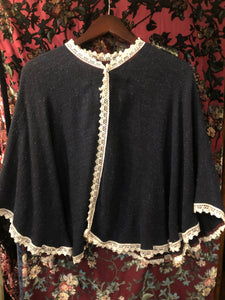 Women's Furs & Wraps: Vintage 1970s does 1910s Navy Blue Tweed Capelet with White Crochet Trim