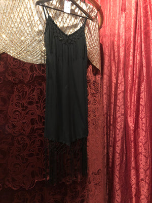 Women's Dresses: Vintage 1990s Does 1920s Piano Shawl—Inspired Black Fringe Dress