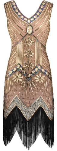 Taupe Beaded Flapper Dress
