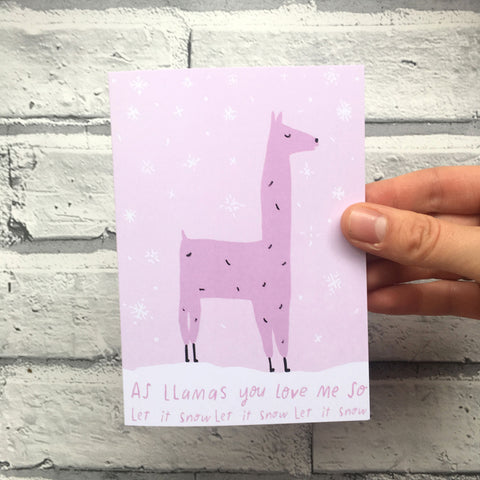 Llamas holiday card