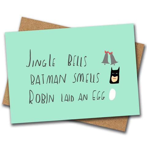 BATMAN SMELLS xmas card