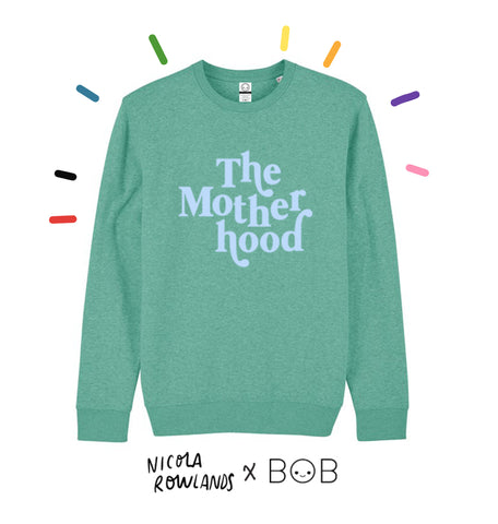 Bob the Brand x Nicola Rowlands collaborative organic cotton sweat heathered green with smooth pastel blue text