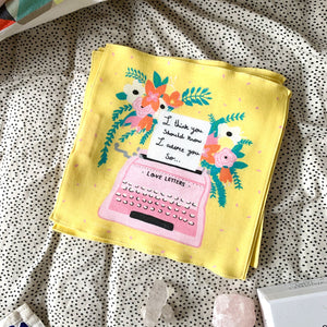 Organic cotton handkerchief Special Edition Nicola x Nicola collaboration Typewriter