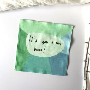 It's you + me babe organic cotton handkerchief