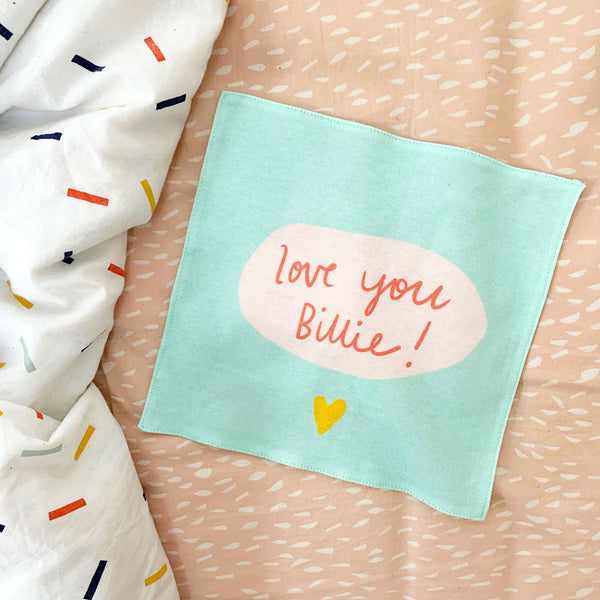 Love You! CUSTOM organic cotton handkerchief
