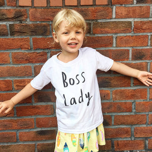 Mini BOSS LADY tee white