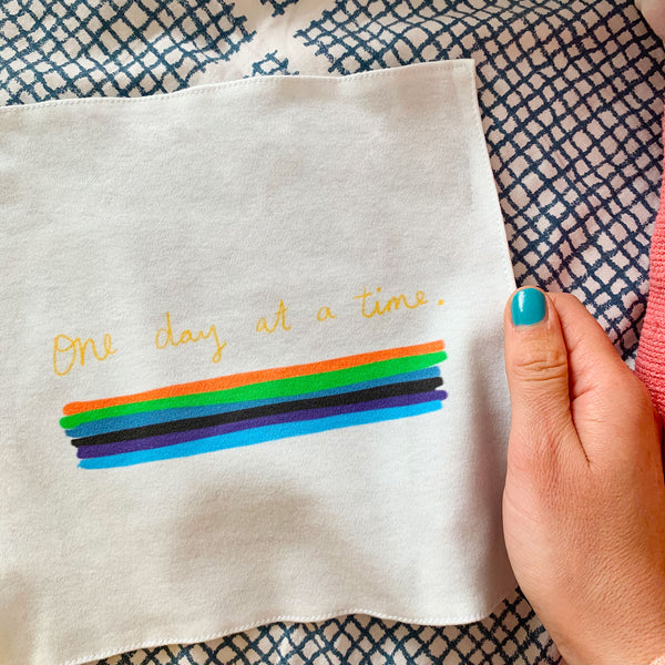 One day at a time organic cotton handkerchief