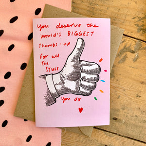 Biggest thumbs up card