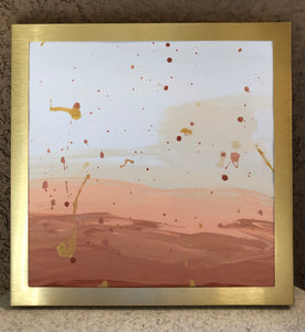 get golden metal framed abstract painting