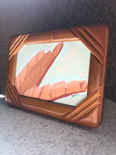 Load image into Gallery viewer, banana palm leaf hand-painting inside a vintage frame