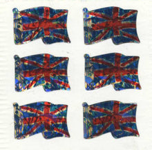 Load image into Gallery viewer, Pack of Prismatic Stickers - Union Jacks X 6