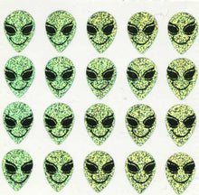 Load image into Gallery viewer, Pack of Prismatic Stickers - Smiley Alien