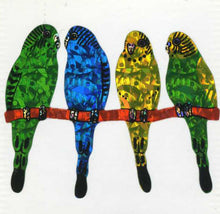 Load image into Gallery viewer, Pack of Prismatic Stickers - Budgies On Perch