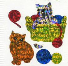 Load image into Gallery viewer, Pack of Prismatic Stickers - Kittens Playing