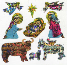 Load image into Gallery viewer, Pack of Prismatic Stickers - Christmas Nativity Scene