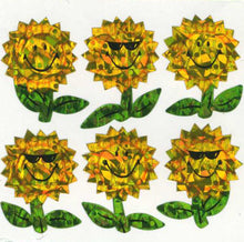 Load image into Gallery viewer, Pack of Prismatic Stickers - Smiley Sunflowers