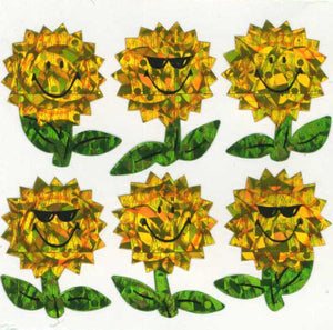 Pack of Prismatic Stickers - Smiley Sunflowers