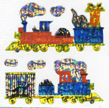 Load image into Gallery viewer, Pack of Prismatic Stickers - Animal Trains