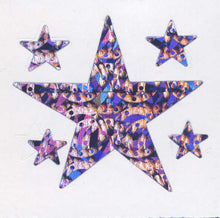 Load image into Gallery viewer, Pack of Prismatic Stickers - 5 Purple Stars