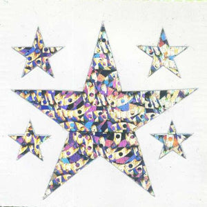 Pack of Sparkly Prismatic Stickers - 5 Stars