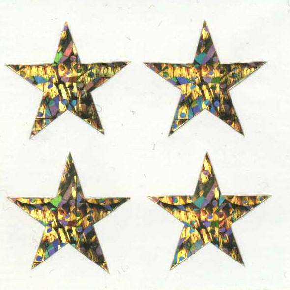 Pack of Sparkly Prismatic Stickers - 4 Stars