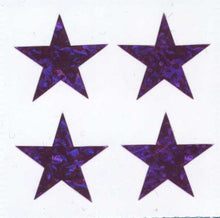 Load image into Gallery viewer, Pack of Prismatic Stickers - 4 Purple Stars