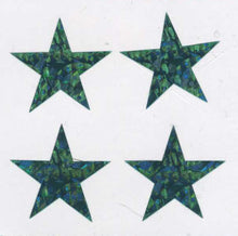Load image into Gallery viewer, Pack of Prismatic Stickers - 4 Green Stars