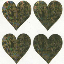 Load image into Gallery viewer, Pack of Sparkly Prismatic Stickers - 4 Hearts
