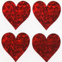 Load image into Gallery viewer, Pack of Prismatic Stickers - 4 Hearts - Red