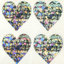 Load image into Gallery viewer, Pack of Prismatic Stickers - 4 Hearts - Silver