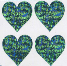 Load image into Gallery viewer, Pack of Prismatic Stickers - 4 Turquoise Hearts